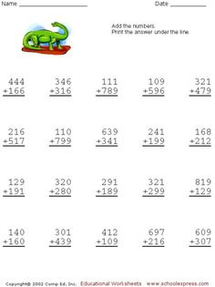Free Addition Worksheets, 3 Digits With Carrying