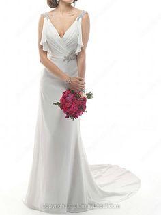 Sheath/Column V-neck Chiffon Court Train Appliques Wedding Dresses -USD$226.09