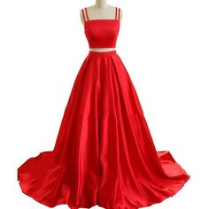 Geshun Women's Modest Two Pieces Prom Dresses Long With Pocket Satin... ❤ liked on Polyvore featuring dresses, gowns, long gown, formal gowns, formal evening gowns, red gown and red formal dresses