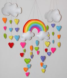 Rainbow and cloud with hearts  mobiles by RazzleDazzle4U on Etsy, $200.00