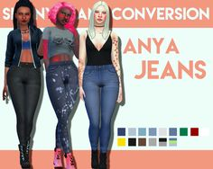 Anya Jeans - 4K Followers Gift I'm fairly sure these jeans were converted from kids. And they look so damn good as highwaisted skinny jeans?? Like soo good? Info• Custom thumbnail • Standalone • BGC • 15 Swatches • Unisex TOUDownload
