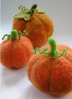 Thanksgiving knitting patterns: Felted Harvest Pumpkin by Marie Mayhew Designs, download on LoveKnitting