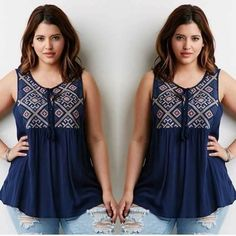 P310 EMBROIDERED US TOP Freesize fit up to xl Cotton