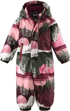 A cozy winter snowsuit for toddlers  the seam-sealed Reima Puhuri Reimatec delivers warmth and has extra insulation in the seat for playing in the snow. Velcro Tape, Winter Kids, Cozy Winter, Snow Suit, Purple And Black, Dress Making, Cold Weather, Toddler Girl, Dresser