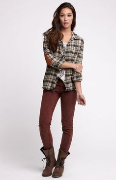 elbow patch flannel + burgundy pants + boots