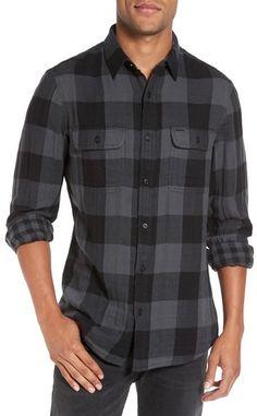 Nordstrom Men's Shop Trim Fit Buffalo Plaid Flannel Sport Shirt
