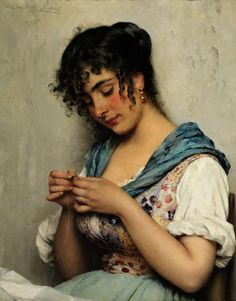 Venitian Seamstress, Eugen de Blaas. Italian (1843-1932)  Both of my Grandparents were Tailors so this painting strikes home for me <3