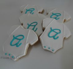 Baby Onesie Cookies with Initial, by Flour De Lis Onesie Cookies, Baby Cookies, Cut Out Cookies, Sugar Cookies, Gift From Heaven, Tiffany And Co, Cookie Ideas, Baby Onesie, Decorated Cookies