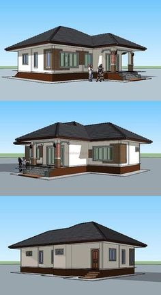 Comparing with a multi-storey house, a single storey house costs cheaper, making it ideal for families who are on a budget. Model House Plan, My House Plans, House Floor Plans, Modern Bungalow House Design, Simple House Design, Single Storey House Plans, House Architecture Styles, Three Bedroom House Plan, Beautiful House Plans