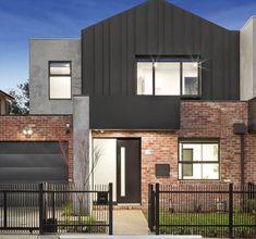 Modern House Facades, Modern House Design, Modern Brick House, House Cladding, Facade House, Facade Design, Exterior Design, Brick Feature Wall, Recycled Brick