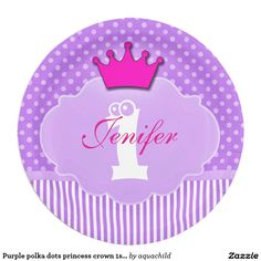 Purple polka dots princess crown 1stbirthday plate 9 inch paper plate