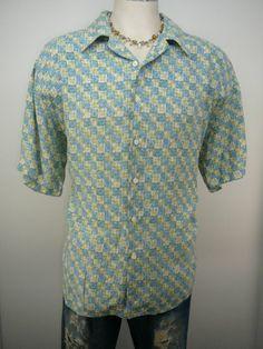R & R CASUALS - MENS - shirt  L  Free Shipping - casual Hawaiian button up front #RRCasuals #Hawaiian