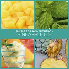 """PINEAPPLE-MINT ICE  1 (20 oz) can pineapple chunks in juice, chilled and undrained  2 tbs coarsely chopped fresh mint  Fresh mint sprigs, opt  Set aside 3 pineapple chunks for garnish. Place remaining pineapple and juice in an 8"""" square pan. Cover and freeze 1 1/2 to 2 hrs or until almost frozen.  Process frozen pineapple and chopped mint in a food processor until smooth, but not melted. Serve immediately; garnish with reserved pineapple chunks and mint sprigs, if desired."""