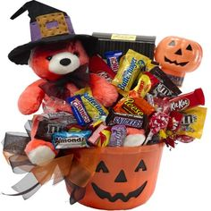 Art of Appreciation Gift Baskets Happy Halloween Jack O Lantern with Teddy Bear Gift Basket