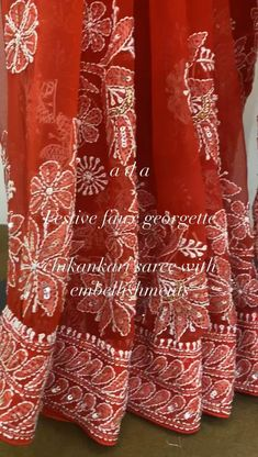 Ada Hand Embroiderd Red Georgette Lucknowi Chikankari Saree/Blouse With Sequinned Work is definitely one of the classiest pieces created at Ada Chikan. Reach us out on +91-8795160153 for more details