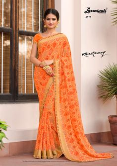 Browse this amazing multicolor and orange rawsilk blouse along with satin printed lace border from Design - ₹ Laxmipati Sarees, Georgette Sarees, Baby Knitting, Knitted Baby, Saree Shopping, Lace Border, Printed Sarees, Saree Styles, Indian Dresses