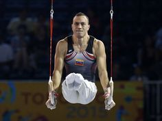 Jose Fuentes of Venezuela competes on the still rings