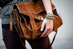Bag :: Proenza Schouler PS1.  Accessories :: Chan Luu leather wrap bracelet