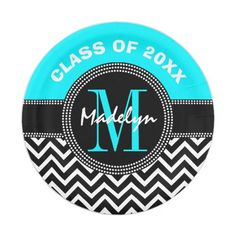 High School Graduation Monogram Chevron Paper Plate