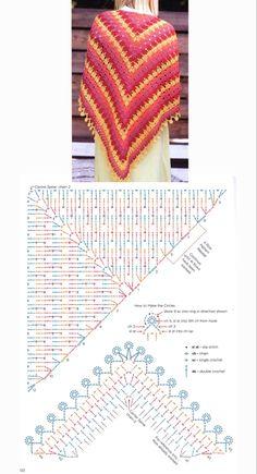 Poncho Tejido a Crochet Crochet Shawl Diagram, Crochet Chart, Crochet Stitches, Shawl Patterns, Knitting Patterns, Crochet Patterns, Crochet Diy, Crochet Scarves, Crochet Clothes