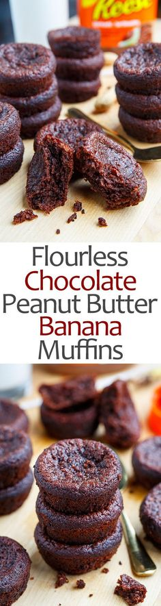 Flourless Chocolate Peanut Butter and Banana Muffins