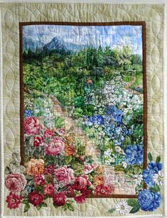 This flower quilt looks like it cannot be beaten. Colchas Quilt, Bargello Quilts, Tree Quilt, Hanging Quilts, Quilted Wall Hangings, Watercolor Quilt, Landscape Art Quilts, Flower Quilts, Miniature Quilts