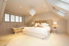 loft conversion - room (master or spare) with roll top bath Attic Master Bedroom, Bedroom With Bath, Attic Bedrooms, Bedroom Loft, Small Bedrooms, Bedroom Decor, Bedroom Ideas, Open Bathroom, Attic Bathroom