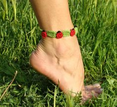 Crochet anklet  bracelet  ladybird by zolayka on Etsy, $16.00