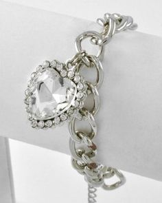$12.99 BLING Designer Style Crystal & Rhinestone Dangle Heart Bracelet by Jersey Bling (Clear): Jewelry: Amazon.com
