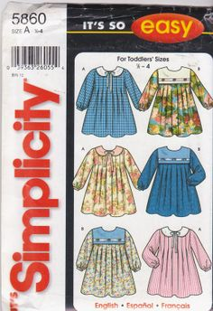Sewing pattern for long sleeved toddler dress by beththebooklady, $7.99