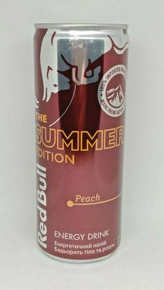 New Empty Can Ukraine Energy Drink RED BULL SUMMER EDITIONS Peach 250ml. 2021 #RedBull Red Bull, Energy Drinks, Peach, Canning, Ukraine, Empty, Summer, Summer Time, Peaches