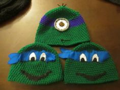 """some character beanies I've recently done 2 ninja turtles and a minion """"ninja turtle"""" beanie"""