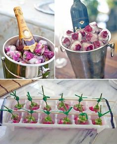 Flower ice cube decorations and champagne chiller duo Flower Ice Cubes, Snacks Für Party, Party Drinks, High Tea, Party Planning, Party Time, Tea Party, Brunch, Food And Drink