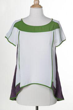 Lara Blouse | White Plum #colorblock #white #gray #green #top