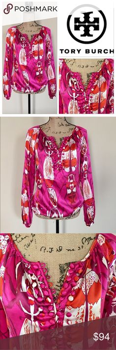"""Tory Burch silk blouse Fuchsia, orange, and white beetle print silk blouse by Tory Burch. Boat neck with gentle ruching, 4 rows of buttons at neck, elasticized hem. Full length sleeves with button cuffs. Loose fit. Size 2. Excellent condition. No flaws. 100% silk. Approx measurements, bust 19"""", length 25"""". Tory Burch Tops Blouses"""