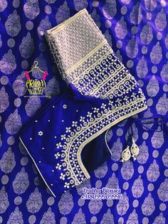 Blue and silver Aari work blouse You are in the right place about Blouse fashion Here we offer you the most beautiful pictures about the Blouse you are looking for. Blouse Designs Catalogue, Simple Blouse Designs, Stylish Blouse Design, Fancy Blouse Designs, Blouse Neck Designs, Blouse Patterns, Wedding Saree Blouse Designs, Maggam Work Designs, Diana