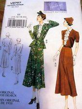 1930s VOGUE VINTAGE MODEL DRESS & JACKET SEWING PATTERN 14-16-18-20 UNCUT