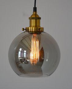 NEW Vintage Modern Glass Pendant Light Ceiling Lamp Ball Shape Shade Retro Industrial Metal Kitchen Loft Bedroom Office Home Decorative Hanging Ceiling Pendant Lamp Light Chandelier (Amber): Amazon.co.uk: Lighting
