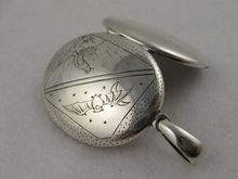 Very Unusual Victorian Engraved Silver 'Day & Night' Locket