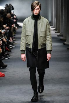 Longline color blocked bomber | Neil Barrett - Fall 2015 Menswear - Look 1 of 42