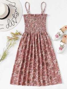 Shop Floral Print Pleated Cami Dress at ROMWE, discover more fashion styles online. Cute Girl Outfits, Girly Outfits, Cute Casual Outfits, Pretty Outfits, Pretty Dresses, Stylish Outfits, Beautiful Dresses, Dress Outfits, Casual Dresses