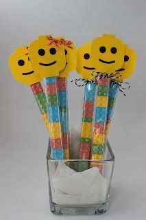 Lego Head Candy Sticks  Good morning! This is my last DT post for  Timeless Twine, but I hope to be back to guest designer sometime.    Today I'm sharing my Lego head candy sticks. I've made these before, but I thought they needed a little something extra. I used 1x8 Clear Candy Treat Bags, Strawberry Cupcake twine, and Black Coffee twine.