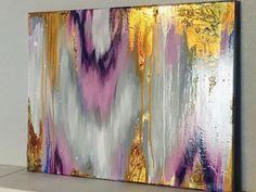 Abstract Acrylic Gold Leaf Art / Purple Gray by ThisAbstractGrace