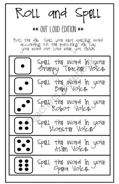 Roll and Spell - the OUT LOUD edition from Classity Class on TeachersNotebook.com -  (1 page)