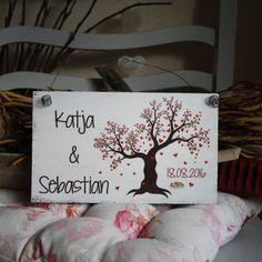 Shabby Chic Holzschild - Hochzeits-ShabbySchild Herzbaum
