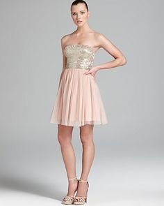 Aidan Mattox Party Dress - Strapless Sequin Top | Bloomingdales