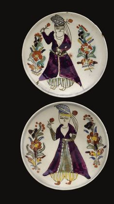 Two Kütahya figural dishes, Turkey, second half Century ༺JS༻ Turkish Tiles, Turkish Art, Middle Eastern Art, Ancient Near East, Ottoman Empire, Tile Art, Islamic Art, Art And Architecture, Pottery Art