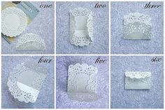 Little envelopes made from paper doilies. Would be a cute way to give a gift card to someone you ♥!