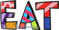 "EAT Word Art for Table Top or Wall by Romero Britto by Romero Britto. $61.00. Custom Word arranged by Picky Picky me. Letters are individually gift boxed in Britto box.. Polystone Sculpture for Table Top or Wall. Romero Britto. Add a touch of fun and inspiration to your kitchen with this EAT word art. This art can be used as a table decoration or wall hanging. Each letters average size is 5""H x 6""W x 1""D."