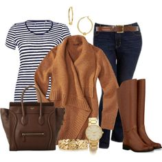 sweater, jeans, riding boots